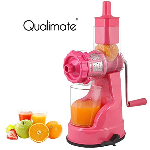 Qualimate Hand Juicer for Fruits and Vegetables with Steel Handle Vacuum Locking System (Pink)