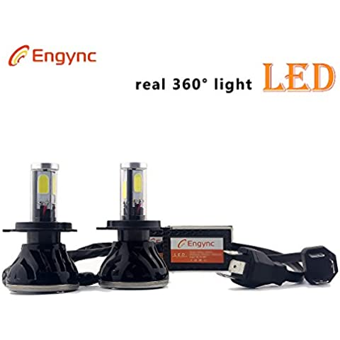 Engync H4 Lo / Hallo (HB2, 9003) Alles in allem-LED-Scheinwerfer-Umbausatz (ein Paar), 6000K super helle Selbstkühl Weißes Licht, 3 Jahre