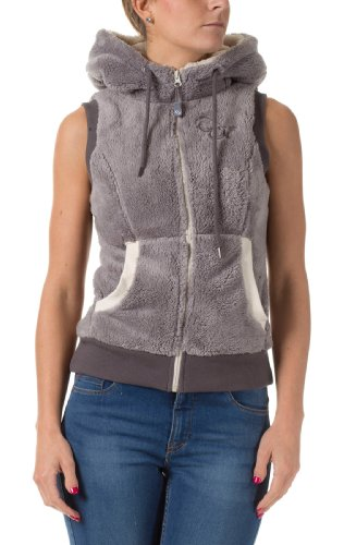Eight2Nine Damen Teddy Fleece Weste Kapuze Augen und Öhrchen middle grey S (Kapuzen-fleece-weste)