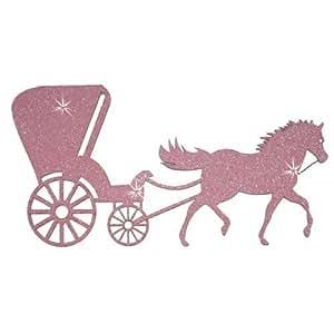 Tissu à paillettes cheval Carrosse rose bébé Applique Patch Thermocollant Uni de transfert de DIY Craft T-shirt pour homme