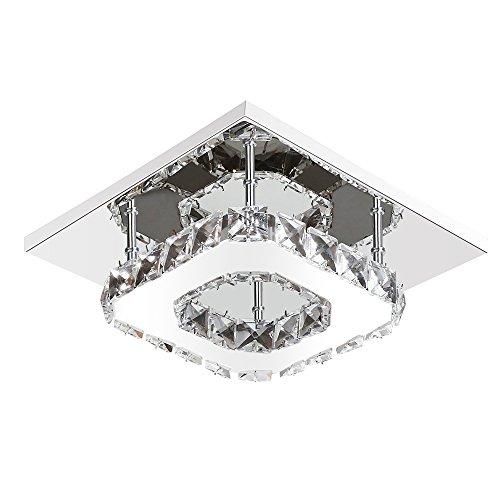 ETiME Kristall Deckenleuchte Modern Deckenlampe LED Edelstahl Wandleuchte Kronleuchter für Flur, Gang, Balkon, Schlafzimmer (12W Weiß)
