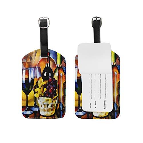Hunde 2-stück Gepäck-set (Kofferanhänger für Gepäck Koffer Traubenweinglas Flasche Leder Reisetasche Adressetiketten 1 Stück)
