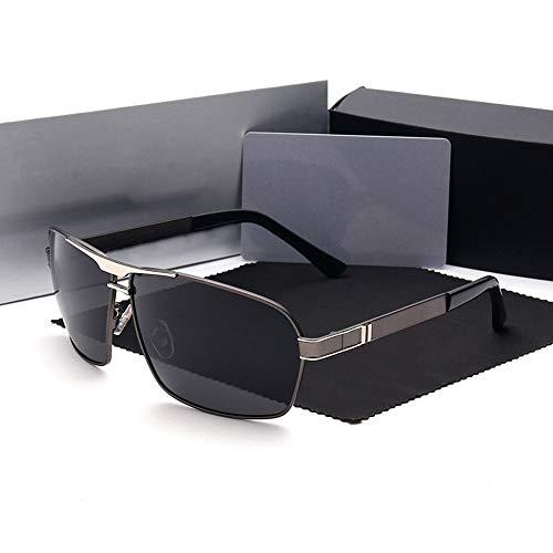 Polarisierte Sonnenbrille mit UV-Schutz Fashion Square Sonnenbrillen, Fahren Angeln polarisierte Sonnenbrillen für Männer. Superleichtes Rahmen-Fischen, das Golf fährt ( Farbe : Gun/silver frame )