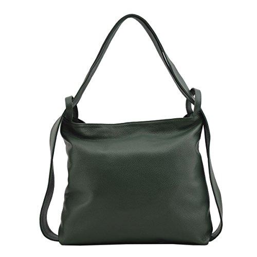 Sac Shopper Et Sac à Dos En Cuir Véritable Couleur Vert Foncé - Maroquinerie Fait En Italie - Sac Femme