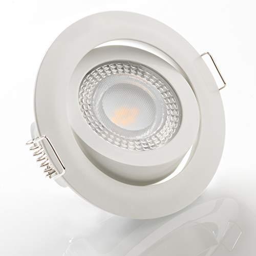 LED Einbaustrahler schwenkbar flach 3000K warmweiß 230V dimmbar Deckenstrahler Einbauleuchte Einbauspot, Farbe:Weiß, Einheit:1 Stück