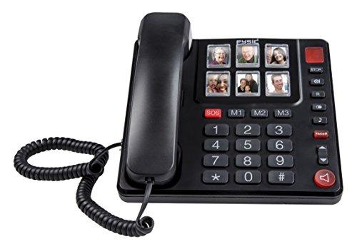 Notfall Schnurloses Telefon (Fysic FX-3930 schnurgebundenes Telefon mit großen, gut lesbaren Tasten, sechs großen Fotoschaltflächen, einfache Bedienung, Hörgerätkompatibel, Klingelton besonders laut einstellbar, Ideal für Senioren geeignet, schwarz)