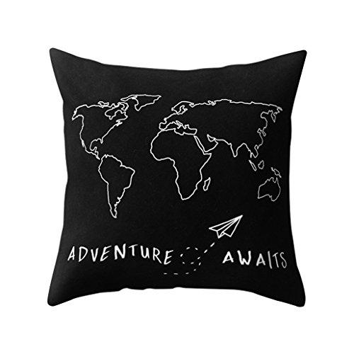 Sukisuki mundo mapa decorativo funda de almohada Funda de cojín casa sofá funda de almohada 45cmx45cm...