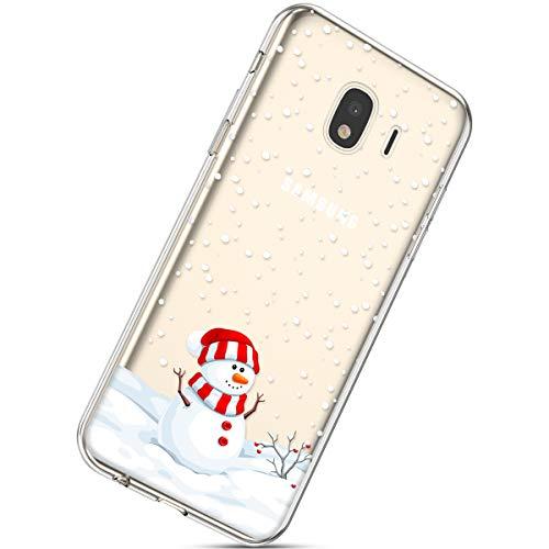 Handytasche Samsung Galaxy J4 2018 Weihnachten Handyhülle Durchsichtig Schutzhülle Silikon Dünn Case Transparent Handyhüllen Kirstall Clear Case Etui TPU Bumper Schale,Schneemann