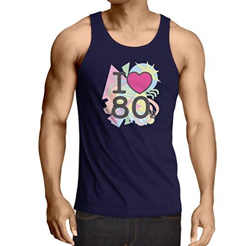 Weste Ich liebe 80er Konzert t-shirts Weinlese Kleidungs Musik t-shirts geschenke (Medium Blau (Outfit 80er Jahre Für Jungs)
