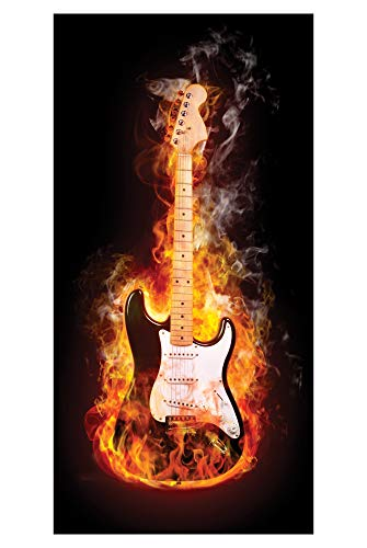 LimeWorks Badetuch, 70x140 cm, Motiv brennende E-Gitarre, Baumwolle/Mikrofaser, Made in EU