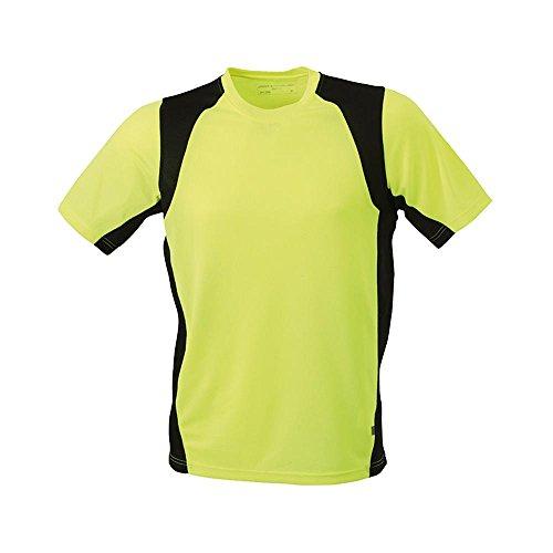 James & Nicholson - Laufshirt für Herren 'Mens Running T' fluoyellow/black