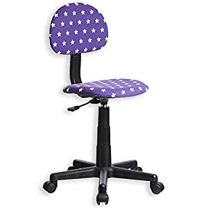 Fauteuil chaise de bureau enfant MANUEL, hauteur réglable roulettes tissu motif étoiles