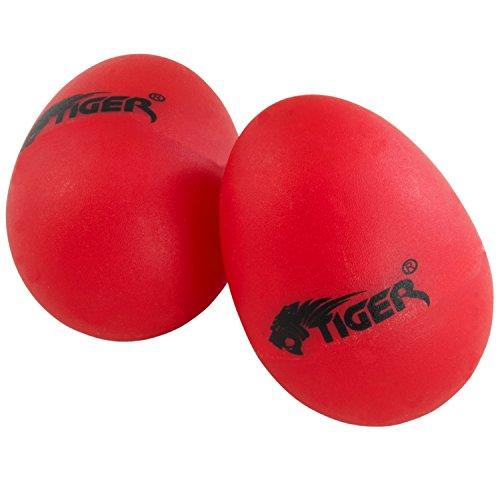 Tiger Egg Shakers - Pair of Plastic Egg Shakers - Red Plastic Musical Shaker
