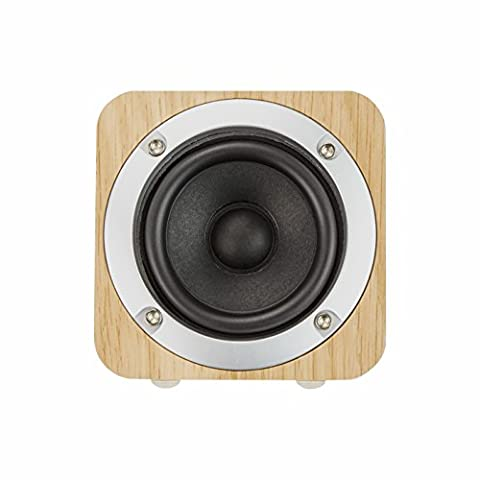 Bluetooth Speaker Lombex Wooden Wireless Speaker 6W With Advanced Bass Stereo Sound Outdoor Speaker Up To 10 Hours Playtime Support FM Radio ,SD ,3.5mm Audio Connection Portable Speaker For Car /Home/Office/Outdoor ,etc (Cherry)