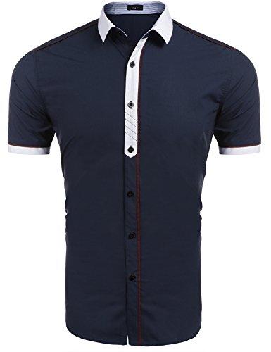 Burlady Herren Kurzarmhemd Freizeithemd Kontrast Business Hemd Poloshirt Slim(Blau,XL)