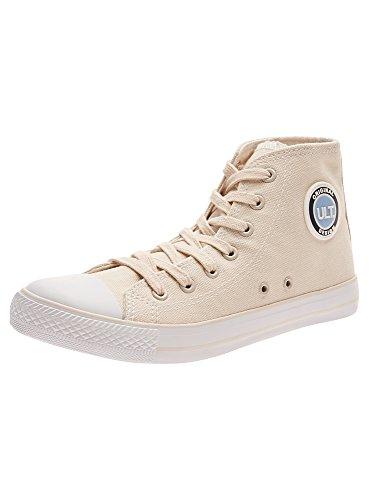 oodji Ultra Donna Sneakers Alte di Tela in Cotone, Beige, 38 EU / 5 UK