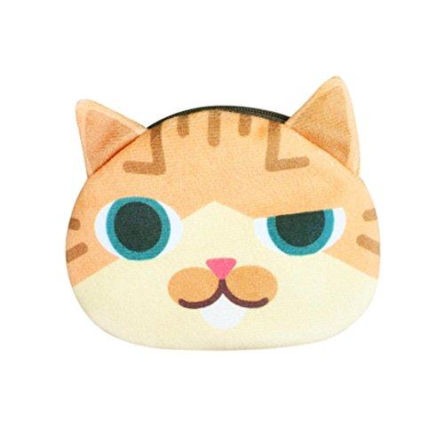 Longra Moda donna e ragazze poliestere / cotone stampa digitale Carino Cat Zero Purse F