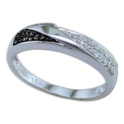 POSH diamonds brillant anillo de{585} oro blanco con blanco y negro con brillantes, total aproximadamente 0, 16ct. Tamaño 58