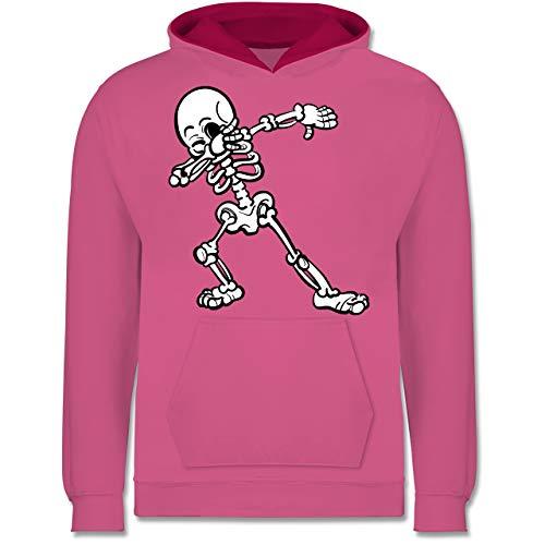 Shirtracer Halloween Kind - Dabbing Skelett - 7-8 Jahre (128) - Rosa/Fuchsia - JH003K - Kinder Kontrast Hoodie (Halloween-kostüme 2019 Lustige)