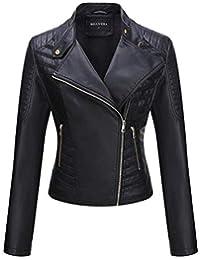 Bellivera Damen PU Lederjacke (3 Farben), Bikerjacke mit Reißverschluss, Kurze Jacke für Herbst, Frühling