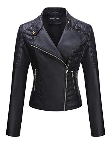 Bellivera Damen PU Lederjacke (3 Farben), Bikerjacke mit Reißverschluss, Kurze Jacke für Herbst, Frühling, L