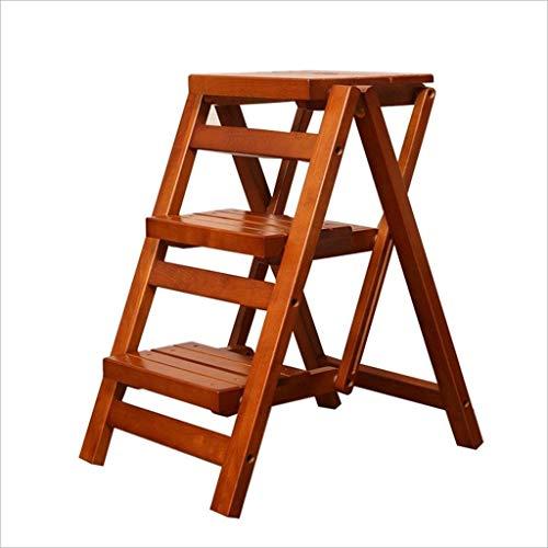 Eeayyygch arie in legno massello multifunzione sgabello scala pieghevole/famiglia scaletta in legno sgabello/doppio uso scaletta aria passo creativo 32.5 * 27.5 * 55.5 cm (colore : -, dimensione : -)