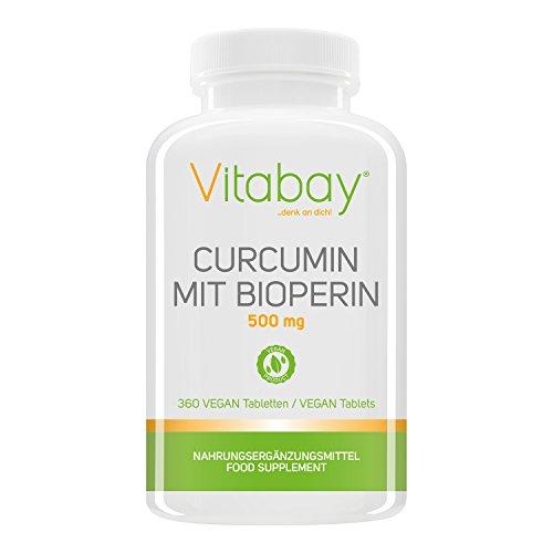Curcumin mit Bioperin 500 mg, Curcuma C3 Komplex, Curcuma Longa Wurzel (360 VEGAN Tabletten)