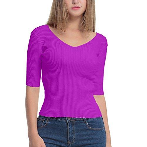 Honghu Femme Casual Manches 3/4 Tricot T-shirt Automne et Hiver Sweater Violet
