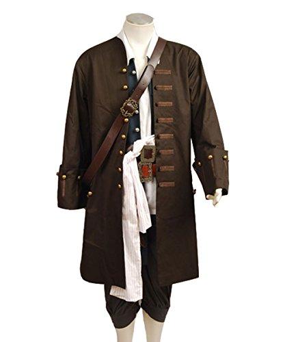 Manfis Jack Sparrow Jacke Weste Gürtel Hemd Hose Kostüm Set-ideal für Halloween Karneval und für Pirate of The Caribbean Cosplay.