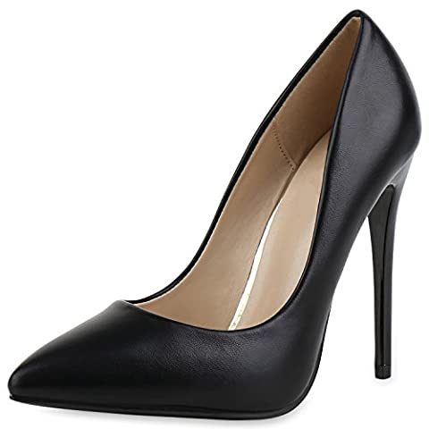 Damen Spitze Pumps Stilettos High Heels Lederoptik Elegante Schuhe Schwarz Noir 37 (High Heels Pumps)