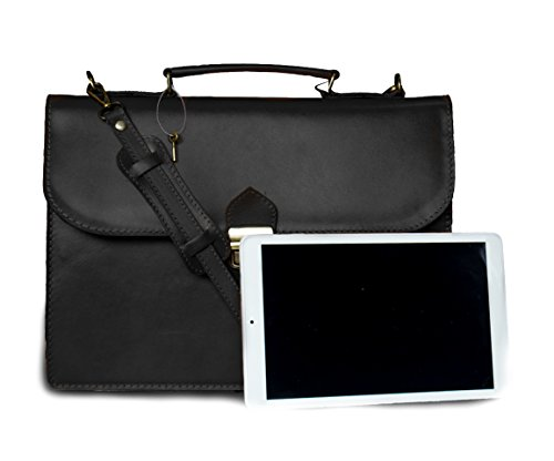 Leder Arbeitstasche Lehrertasche Schultasche Aktentasche Businesstasche Bürotasche Dokumententasche Notebooktasche DIN A4 Made in Italy 38x27x8 cm (Marrone) Nero