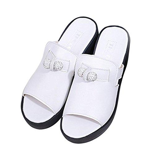 Hunpta Verão Pura Cor Lazer Sandálias Mulheres De Boca De Joker Bagatela De Sapatos Peixe Branco 1BqxqCnfdw