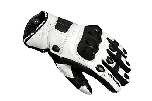 MBSmoto - Guantes de piel con protecciones para motocicletas, hombre mujer, blanco