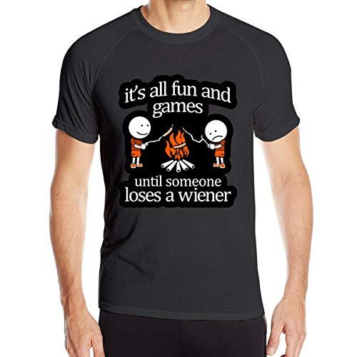 HIPGCC Men It & Euro & tilde's All Fun und Games Laufen Dry-Fit Wicking Kurzarm T-Shirts Schwarz, 6XL -