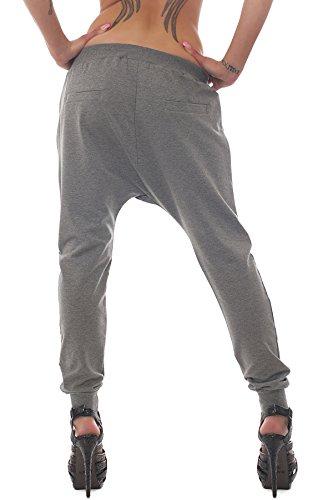 Fashion4Young Damen Haremshose Hose pants aus Sweat-Material verfügbar in 5 Größen 2 Farben Grau1