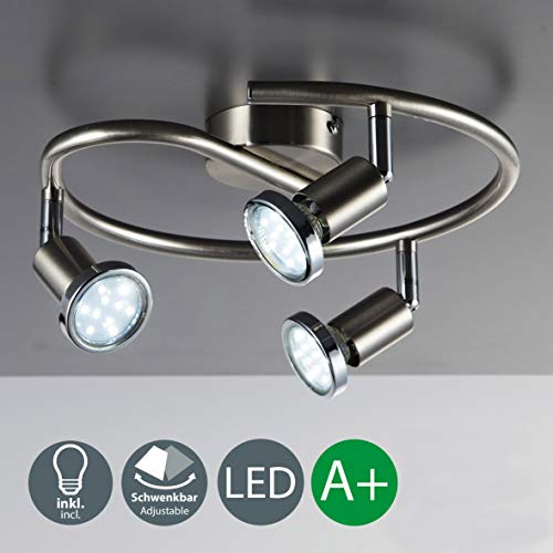 LED Deckenleuchte I Wohnzimmerlampe I Deckenlampe I 3 flammige LED Spirale I Deckenstrahlern I drehbare Licht-SpotsI GU10 inkl. 3 x 3 W Leuchtmittel I matt-Nickel I IP 20