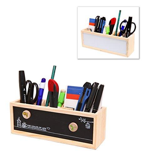 Organizer portaoggetti da scrivania in legno, portapenne, per materiale da ufficio con doppia lavagna, a gesso e a pennarelli cancellabili – damygift
