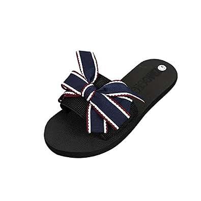 Lonshell Damen Bowknot Sommer Sandalen Badeschuhe Hausschuhe Strand Flip Flops Slipper Mokassins