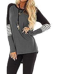 5aa66662821 Auifor Raya de Las Mujeres Camiseta de Bloque de Color Informal para Mujer  Suelta Blusa de
