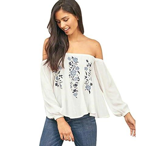 DOLDOA ☀ 「Tops & Shirts」 ☀ Frauen off Schulter Blumendruck Langarm Bluse Casual Tops T-Shirt (Größe: L Fehlschlag: 88-98cm / 34.6-38.6