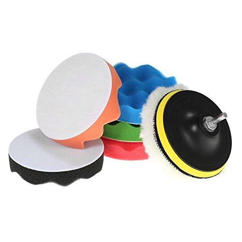 KKmoon Autowachs-Schwamm-Set für Auto-Politur, 7 Stück, 80 mm, 125 mm, 150 mm, 180 mm, 5 x Polierpads, 1 x Wollpuffer, 1 x Klebepad mit Schaft