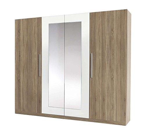 Avanti trendstore - martin - armadio spazioso ad ante a battente con specchio, in laminato di quercia sonoma con decoro bianco, dimensioni: lap 228x213x60 cm