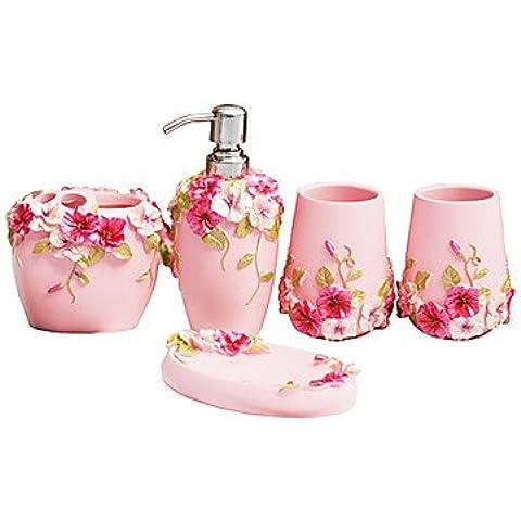 kai conjunto de baño, 5piezas, Country Style Rosa Material ABS, accesorios de baño