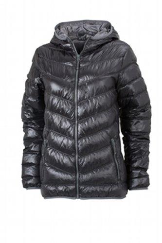 James & Nicholson Damen Jacke Daunenjacke Ladies' Down Jacket schwarz (black/grey) Large