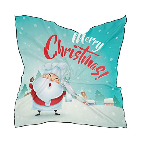Hipiyoled Santa Claus In Christmas Snow Scene Women's Polyester Square Scarf Chiffon Lightweight Neck Head Scarves Kerchief for Women Girls -