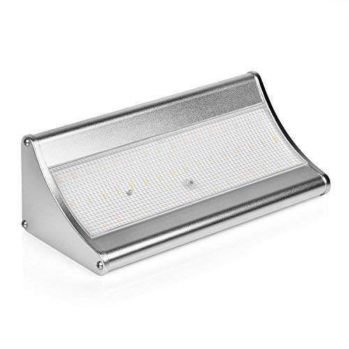GCSJ 48LED 1000 Lumens Logement en Aluminium Lampe Solaire, équipé d'un capteur de Mouvement Radar à 360°et de 4 Modes de Lumière Intelligente, Lumière de Sécurité étanche sans fil, Applique Murale à