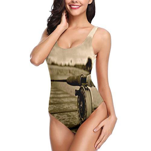 CIVARA Badeanzug mit Angelrute auf dem Brett, einteilig, Nicht verblassen, Bikini, schnelltrocknend, für Damen Gr. L, weiß
