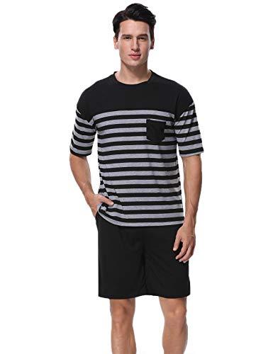Abollria pigiama uomo corto in cotone, pigiama da uomo estivo due pezzi a righe con maniche corte nero xl