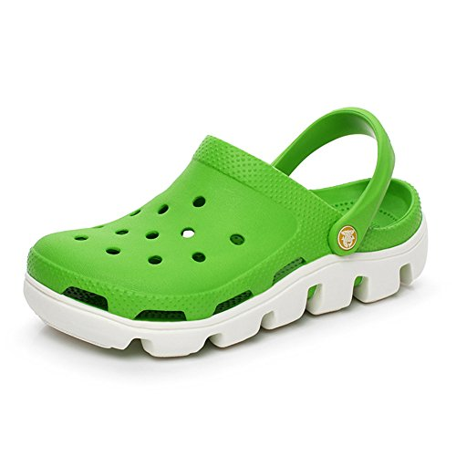 VWU Unisex Herren Damen Sommer Outdoor Breathable Mesh Backless Schuhe Strand Aqua Clogs Pantoletten Freizeit Slip On Hausschuhe Beach Sandals Grün