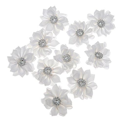 10pcs Satin band Blume Handwerk DIY Haarblume Haarblüten Haarschmuck Haarspange Hochzeit Appliques Multi-Color - Weiß, for 15inch Macbook